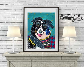 DIGITAL Print File -  Border Collie art Art Print Poster by Heather Galler (HG197)