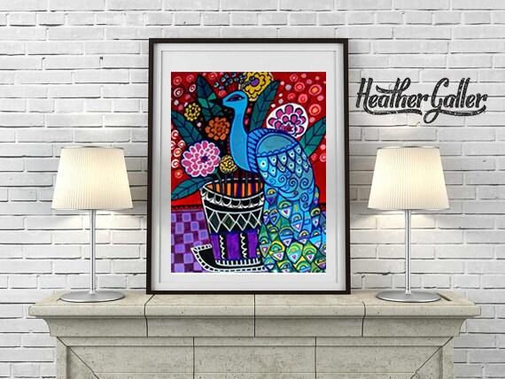 60% Off- Peacock Art Print Poster Bird Wall Decor - Red Flowers Blue Peacock Wall Art (HG184)
