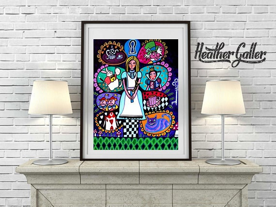 Alice In Wonderland Art Art Poster Print of painting by Heather Galler of Modern Abstract Contemporary Painting
