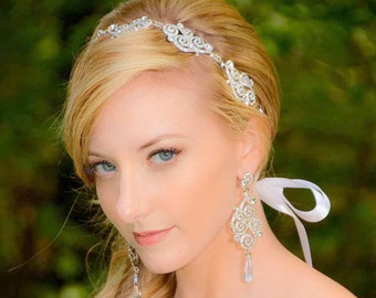 Bridal Hair Accessories - Bridal Headband – Silver Crystal Cubic Zirconia Tiara - Rhinestone Headband Ribbon - Wedding Headpiece - Vivian