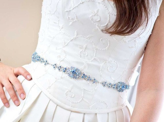 Crystal Belt - Wedding Sash - Wedding Belt - Prom Belt - Prom Sash - Something Blue - Something Blue Belt - Crystal Bridal Belt - SOPHIA
