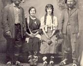 Cross Eyed Corn Cob Pipe Smoking HILLBILLIES With MISSING TEETH and Scruffy Beards Studio Photo Postcard Circa 1910