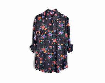 Vintage 90s GAP Sheer Floral Boyfriend Blouse - women's large