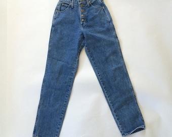 Button Fly Stone Wash Vintage Wrangler Jeans High Waist Tapered Leg 80s Vintage Denim Mom Bluejeans 26 Waist 5 6 x 32 USA