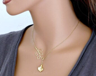 Calla Lily Necklace, dainty flower necklace, Branch Lariat necklace, gold filled chain, bridesmaid gift, wedding jewelry, by balance9