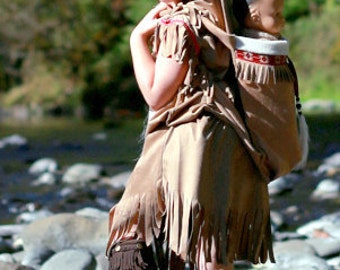 Papoose/ Dress set Native American inspired Girl Indian pretend dress up fun set for children size 2 through 11
