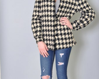 Vintage Pendleton 49er Jacket 50s Houndstooth Black and White Wool Jacket Coat L
