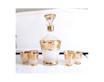 Mid Century Gold Striped Decanter Set / Vintage Italian Glass