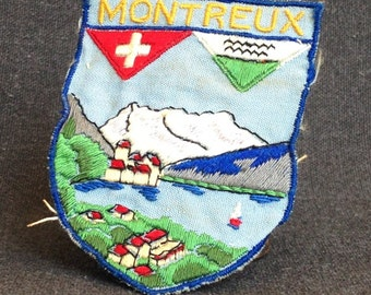 Vintage Montreux escutcheon badge.Travel souvenir from Switzerland.