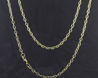 10 Brass Antique Bronzed Tone 27 inches Necklace/ Chain end with Lobster Clasp- Flat oval Link- Z6943