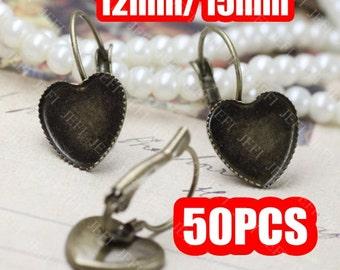 50 Heart Earring Base- Brass Antique Bronzed Lever-Back Ear Wire W/ 12mm/ 15mm Heart Saw-Toothed Bezel Setting Wholesale Earrings- Z5948
