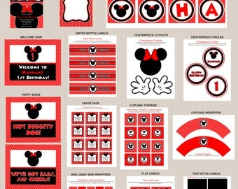 Minnie Mouse Birthday Party Printables 2, Minnie Mouse Party Decorations, Polka Dots, Red, Black, Printable Personalized Package