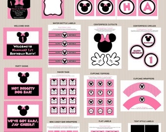 Minnie Mouse Birthday Party Printables 3, Minnie Mouse Party Decorations, Polka Dots, Pink, Black, Printable Personalized Package