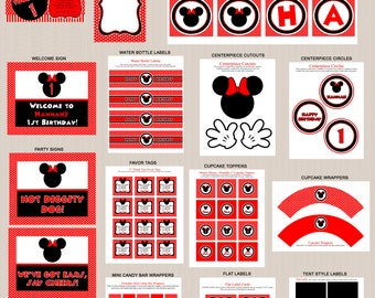 Minnie Mouse Birthday Party Printables, Printable Minnie Mouse  Decorations, Polka Dots, Red, Black, Invitation Included, Printable PDFs