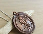 Keep Calm Carry On Wax Seal Jewelry Seal Necklace Copper Jewelry