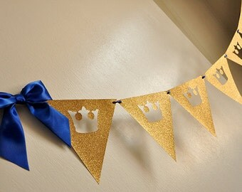 Royal Prince Baby Shower Bunting Banner.  Handcrafted in 2-3 Business Days.  King Crown Garland.