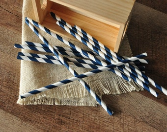 Navy Straws. Handcrafted in 2-3 Business Days.  Navy Party Decorations.  Party Straws 10CT.