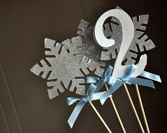 Frozen Centerpiece (4 Piece).   Handcrafted in 2-3 Business Days.  Winter Wonderland Party Decorations.