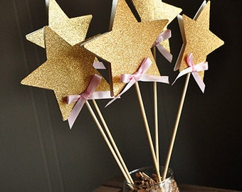 Fairy Wands for Pink and Gold Birthday Party Decoration 5CT.  Ships in 1-3 Business Days. Star Centerpiece.