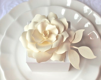 ROSE - Gift Bow - Napkin Holder -  Wedding Favor  Embellishments - handmade paper flower   - Custom order available