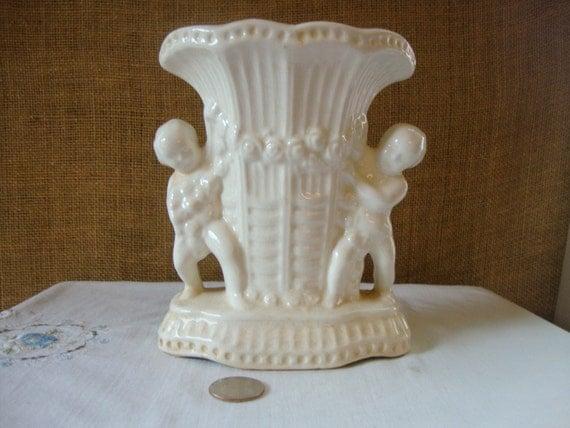 Vintage Cherub Ceramic Vase Ivory Double Cherub Vase Jardine