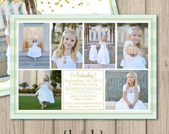 LDS BAPTISM INVITATION ~ lds girl baptism invitation ~ Gold Confetti 5x7 Double Sided