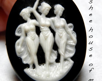 Vintage Cabochons - Pair of Large Resin Cameos 30x40MM  Black White Trio of Fates Classical Grecian Art Nouveau Traditional Victorian Boho