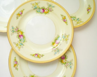 RESERVED 5 Vintage Chic China Bread & Butter Plates Pale Yellow Hand Painted Flowers 1960 Floral Porcelain Plates Japan