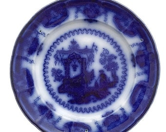 Antique Flow Blue Plate English Transferware Plate Mayer Oregon Oriental