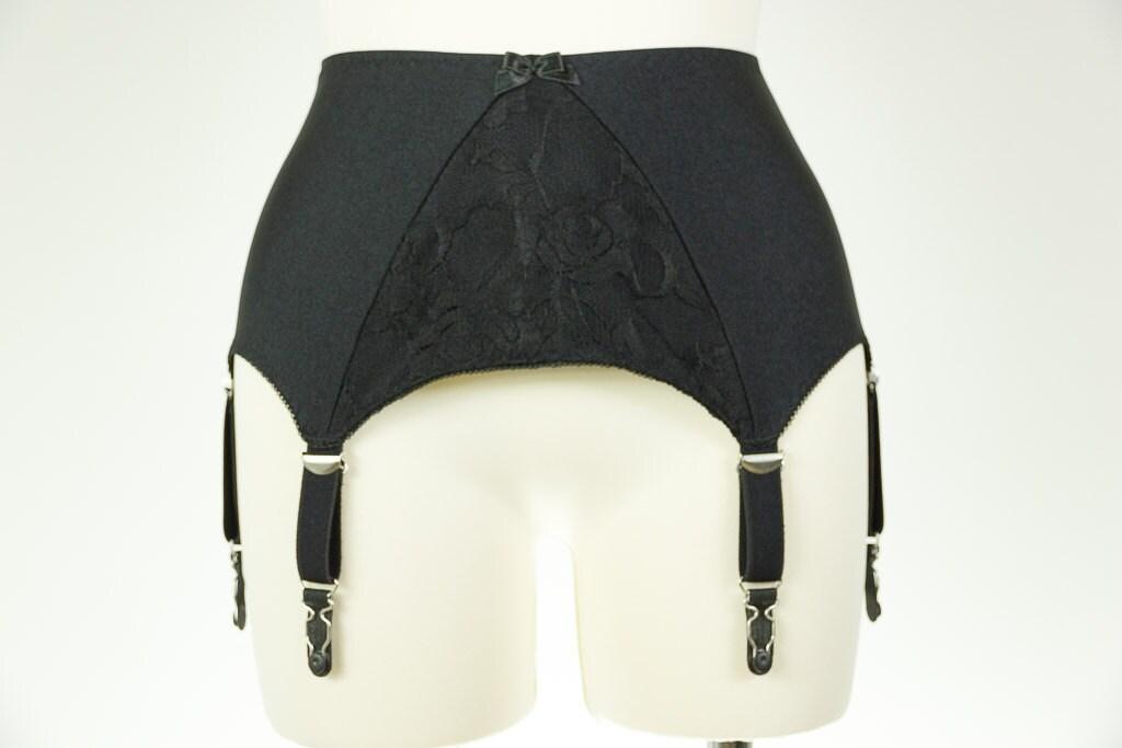 black or white wide retro style lola lace garter belt plus