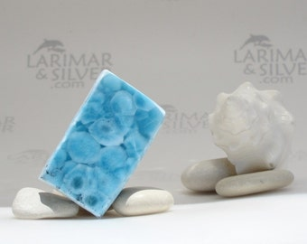 Larimar slab - turquoise Larimar stone, Caribbean blue, raw larimar, dolphin stone, iridescent, turtleback, blue pectolite, Reiki - 157.5 ct