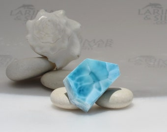 Larimar slab - sea blue Larimar stone, Bohemian blue, natural larimar, dolphin stone, iridescent, turtleback, blue pectolite, Reiki  54.5 ct