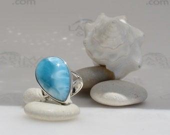 Larimarandsilver ring size 8, Turquoise Wave - azure Larimar pear, turquoise blue ring, blue wave, turquoise larimar, handmade Larimar ring