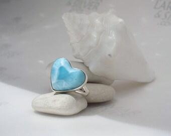 Larimarandsilver ring size 7, Love Element - water blue Larimar heart, topaz blue, love stone, sky blue, aqua heart, handmade Larimar ring