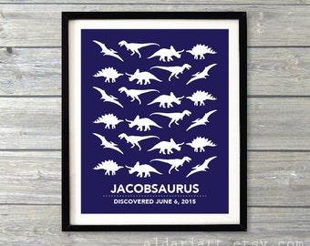 Dinosaurs Nursery Art Print - Navy and White - Dinosaur Nursery Poster - Baby Boy Bedroom Decor - Baby Name and Date Art Print - Aldari Art