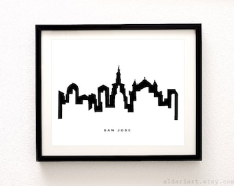San Jose Cityscape Print - San Jose Wall Art - San Jose California Skyline Print - Modern Black and White Decor - Aldari Art