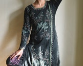 Black Embroidered Floral Tunic dress - handworked green black embroidery tunic Shirt dress size S M