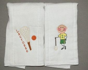 Lacrosse burp cloth sports burp cloths baby boy burp cloth baby boy lacrosse personalized burp cloth