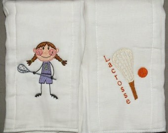 Baby girl lacrosse burp cloths - sports burp cloth set of 2 - lacrosse burp cloths