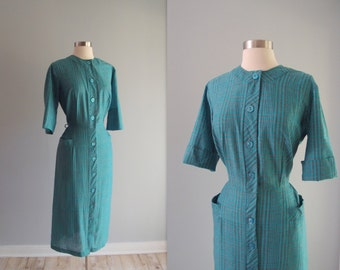 50s Dress / 1940s-50s day dress Blue Grey plaid with slim midi skirt, patch pockets, and cuffed or 3/4 length sleeves ... 30.5 waist