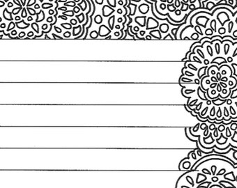Mandala lined stationery page, coloring page