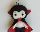 Dracula Ornament, felt doll, Ready to ship