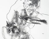 """Original Gestural Male Figure Sketch - Drawing 380 - 9 x 12"""" charcoal and graphite on paper - original drawing by Derek Overfield"""