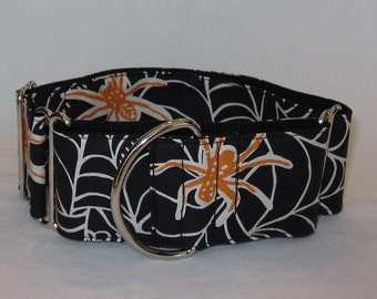 CLEARANCE Spider Martingale Dog Collar - 2 Inch - black orange web halloween creepy fall