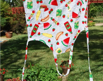 Vintage Apron, Summer Picnic, Watermelon Pickle Hotdog