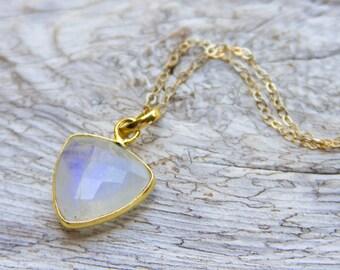 Blue Flash Moonstone Necklace, Flashy Blue Moonstone, Rainbow Moonstone and Gold