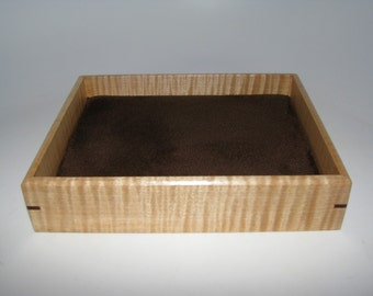 """Elegant Tiger Maple Valet Box. Wooden Tray Upholstered in Suede Fabric. 7"""" x 5.75"""" x 1.5"""""""