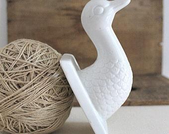 vintage porcelain duck head hook