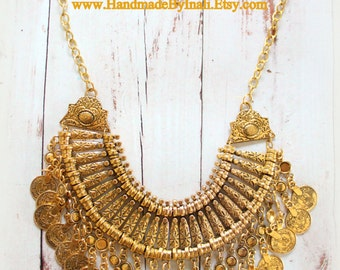 Antique Gold plated Chunky Bohemian Gypsy statement Ethnic Turkish coin necklace Vintage inspired Free people style statement piece