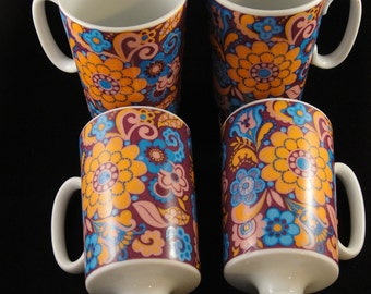 Royal Crown Arnart Smug Mugs Kaleidoscope by Pia Pattern Tall Mugs Set of Four 4